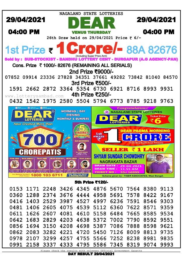 Dear lottery sambad today 4pm 30.4.2021 Result