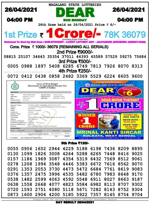 Lottery Sambad Evening 4 PM Result 26.4.2021