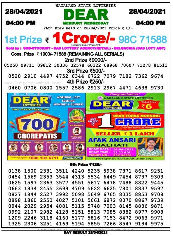 Dear lottery sambad today 4pm 29.4.2021 Result