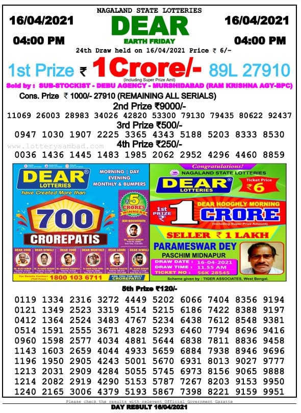 Nagaland State Lottery Result 4 PM 16 4 2021 Live Today