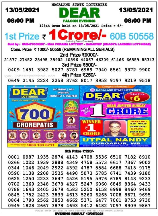 Dear Lottery Sambad 8pm 13.5.2021