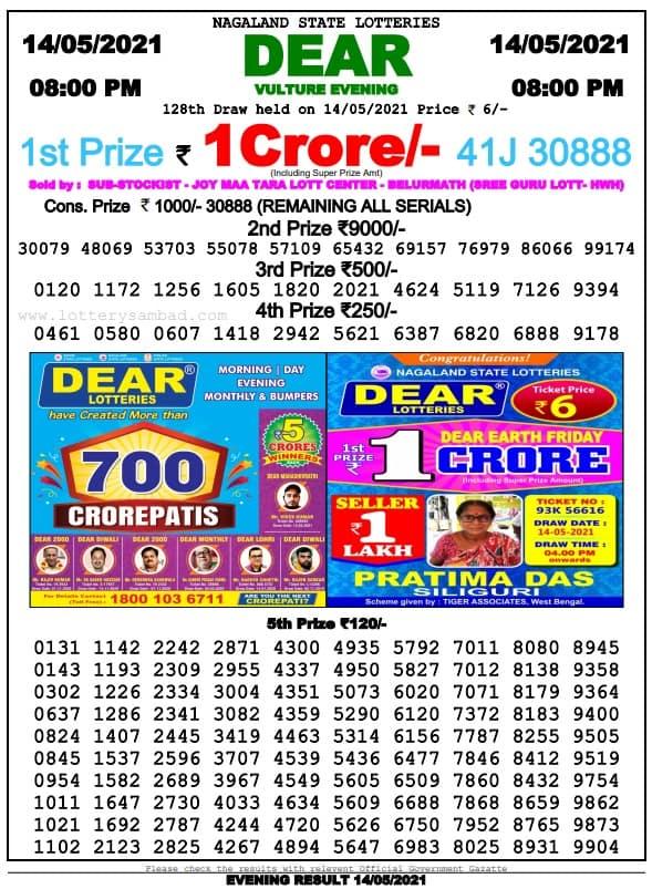 Dear Lottery Sambad 8pm 14.5.2021
