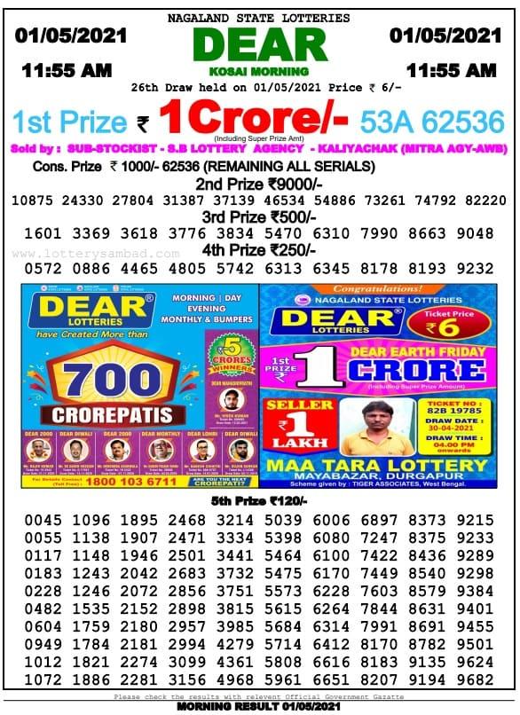 Dear Lottery Sambad Today Morning 11.55 AM 1.5.2021