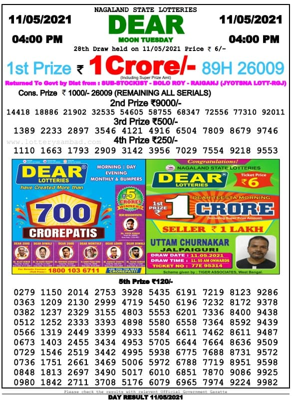 Nagaland State Lottery Result 4 PM 11.5.2021 Live